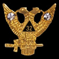 Masonic 32RD Wings Up w/ Stones Lapel Pin -  1/2''