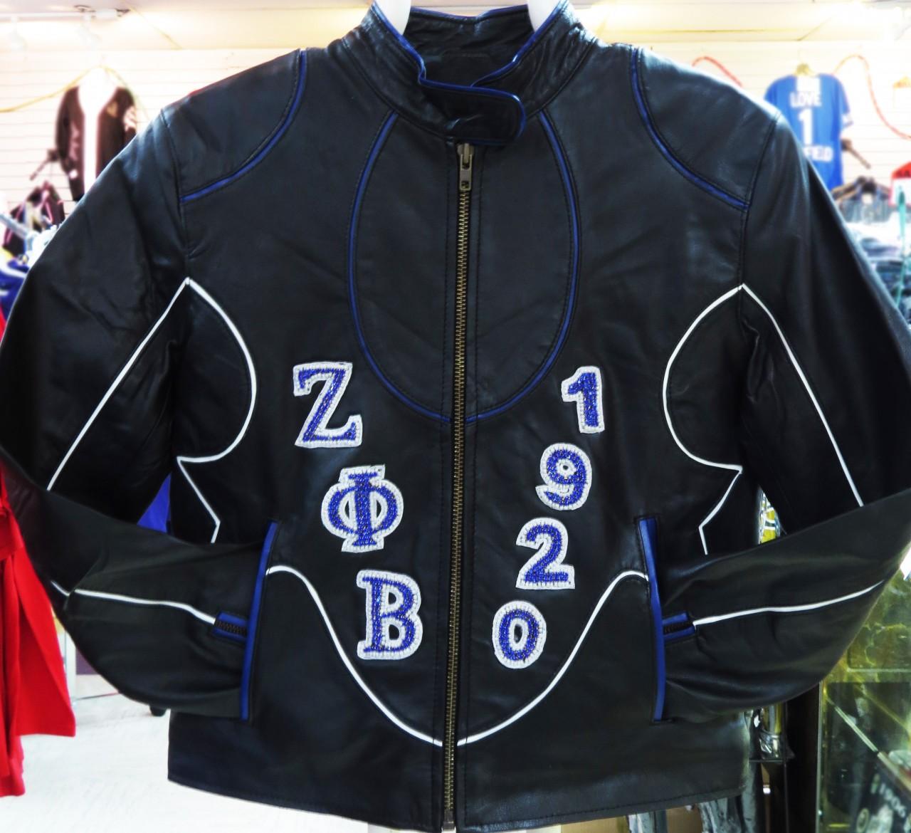 Zeta Phi Beta Rhinestone Leather Jacket The Greek Shop
