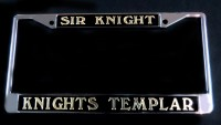 Sir Knight/Knights Templar Black & Gold License Frame
