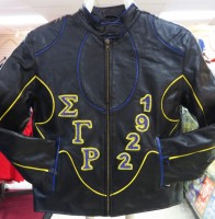 Sigma Gamma Rho Rhinestone Leather Jacket