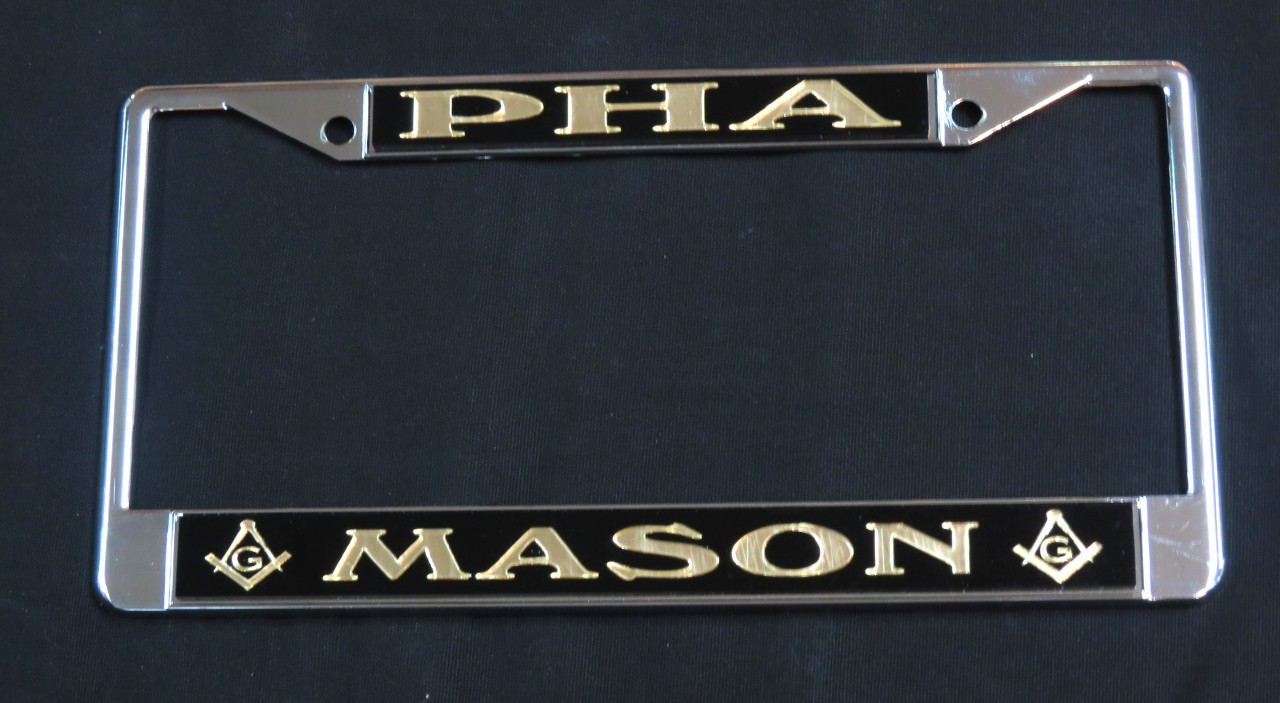Black Amp Gold Quot Pha Quot License Plate Frame The Greek Shop