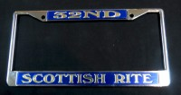32ND/Scottish Rite Blue & Gold   License Frame