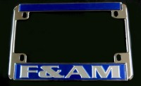 Blue F&A.M. Motorcycle License Frame
