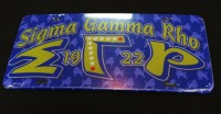 Sigma Gamma Rho Front Tag - Graffiti Greek Letters w/ Mascot In The Background