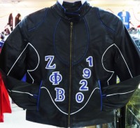 Zeta Phi Beta Rhinestone Leather Jacket