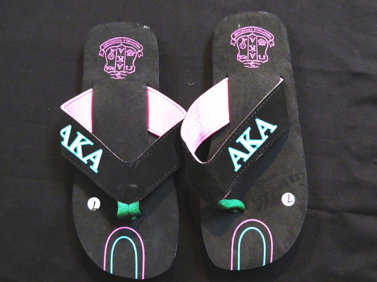 b5f731f88 Flip Flops w  Line Pattern - Alpha Kappa Alpha - The Greek Shop