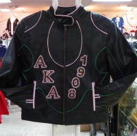 Alpha Kappa Alpha Leather Jacket w/ Rhinestones