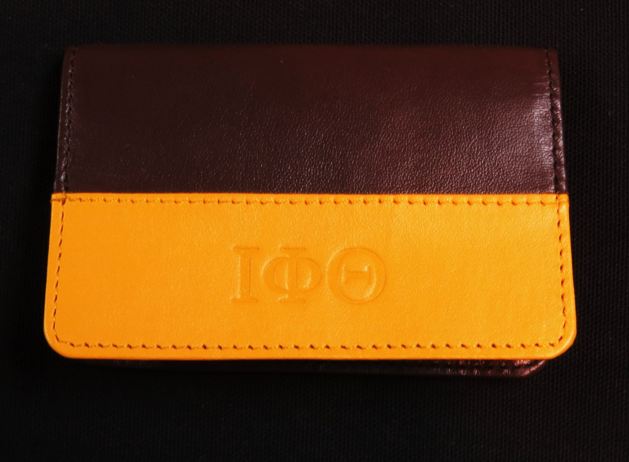 Iota Phi Theta Leather Business Card Holder The Greek Shop