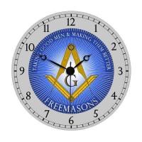 Blue & White Freemason Wall Clock