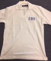 Zeta White V-Neck Polo