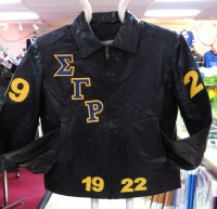 Sigma Gamma Rho Fitted/Bomber Leather Jacket