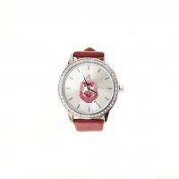 RED & WHITE Leather Band Watch w/ Shield