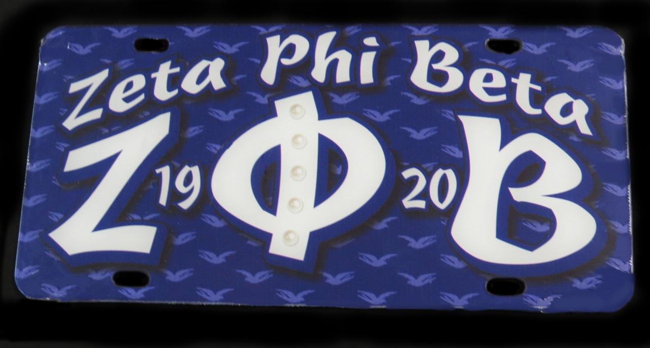 Zeta Phi Beta Front License Plate W Doves In Background