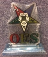 OES Acrylic Desk Top Crest W/ Wooden Base