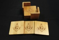 Mason Wooden Coaster Set